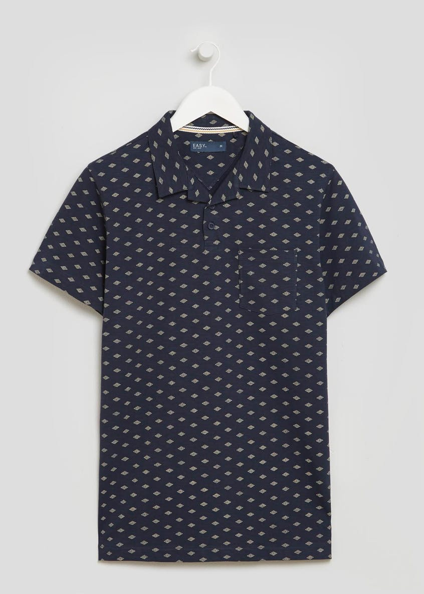 Printed Revere Collar Polo Shirt