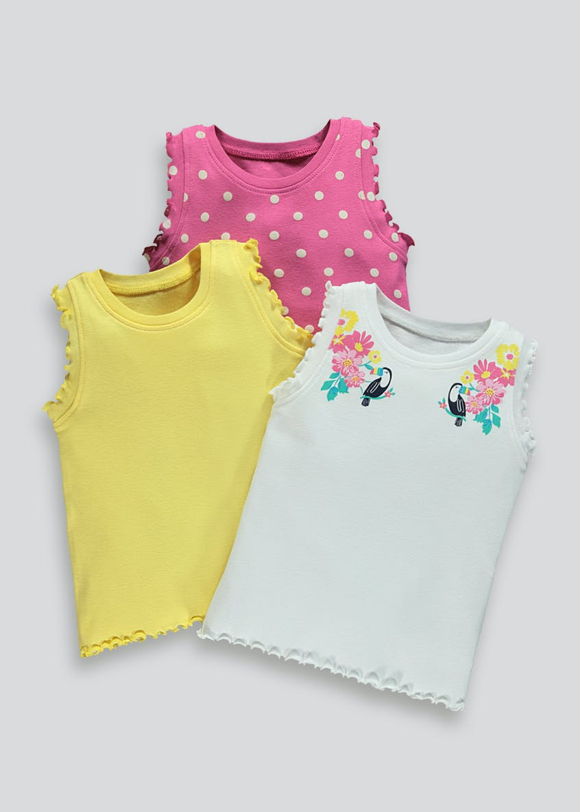 3 Pack Ruffle Ribbed Vests (9mths-6yrs)