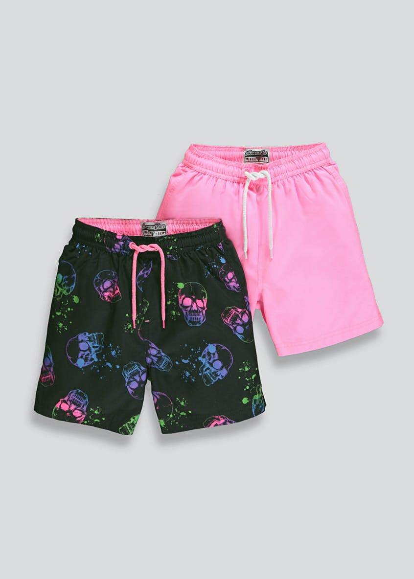 Boys 2 Pack Skull Swim Shorts (4-13yrs)