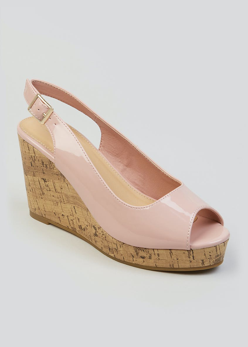 Peep Toe Cork Wedges