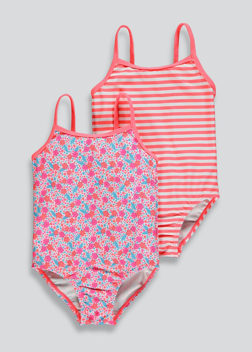 Girls 2 Pack Floral Swimming Costumes (3mths-6yrs)