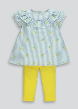 Girls Lemon Embroidered Dress & Leggings Set (9mths-6yrs)