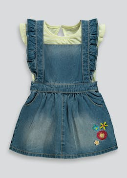 Girls Embroidered Denim Pinafore & T-Shirt Set (9mths-6yrs)