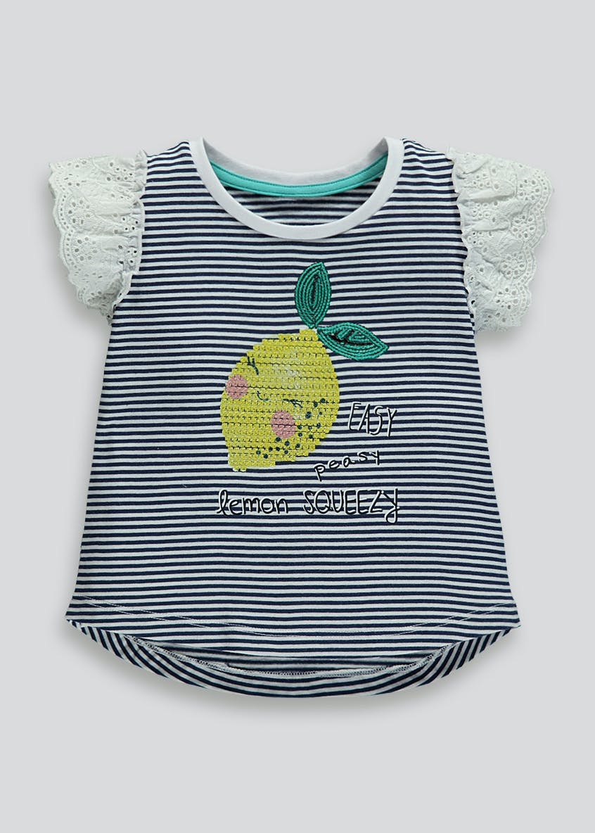 Girls Stripe Sequin Lemon T-Shirt (9mths-6yrs)