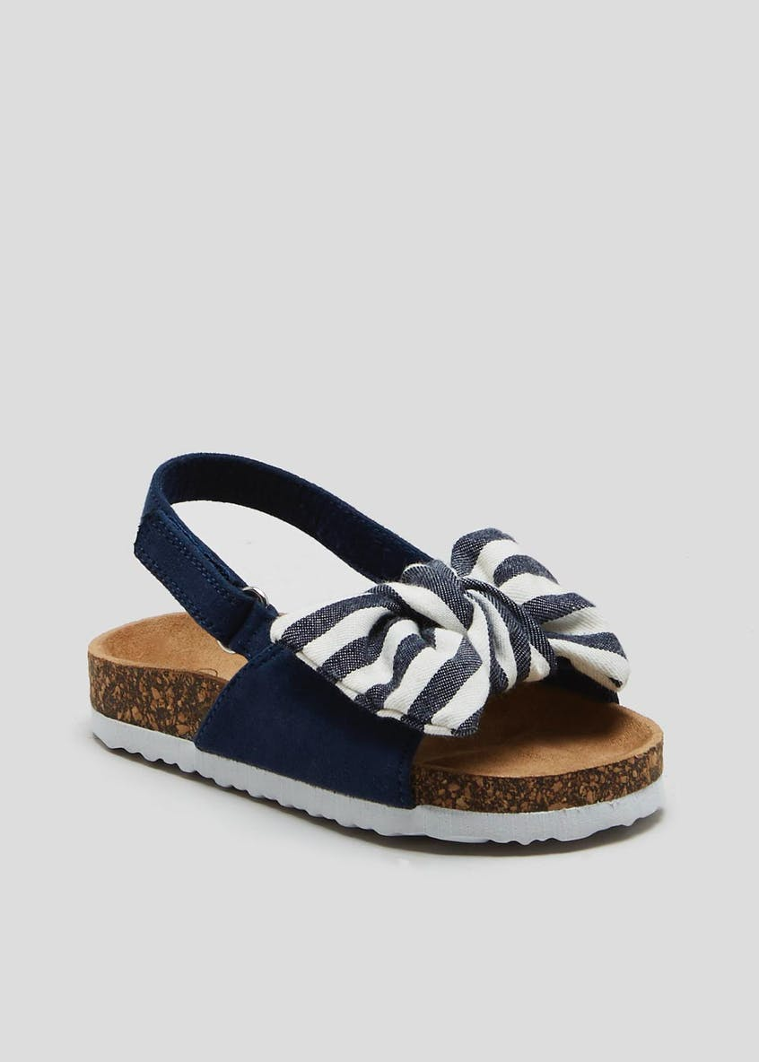 Girls Stripe Bow Sandals (Younger 4-12)