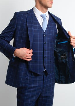 Broken Stitch Andrew Slim Fit Check Suit Jacket