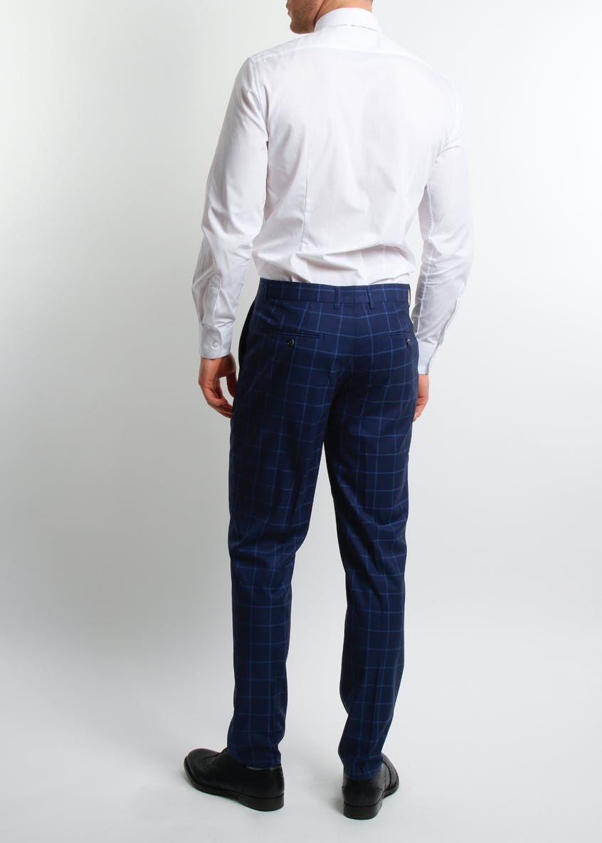 Broken Stitch Andrew Slim Fit Check Suit Trousers