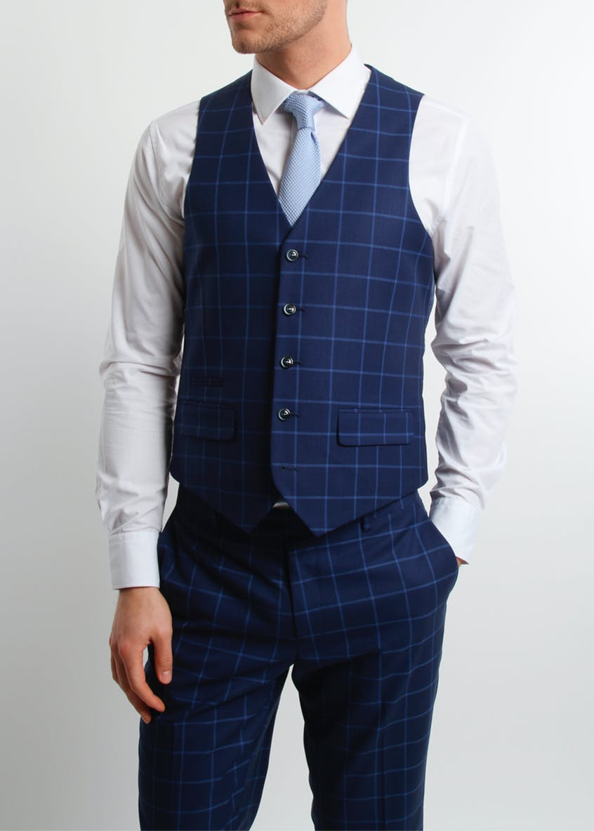 Broken Stitch Andrew Slim Fit Check Suit Waistcoat