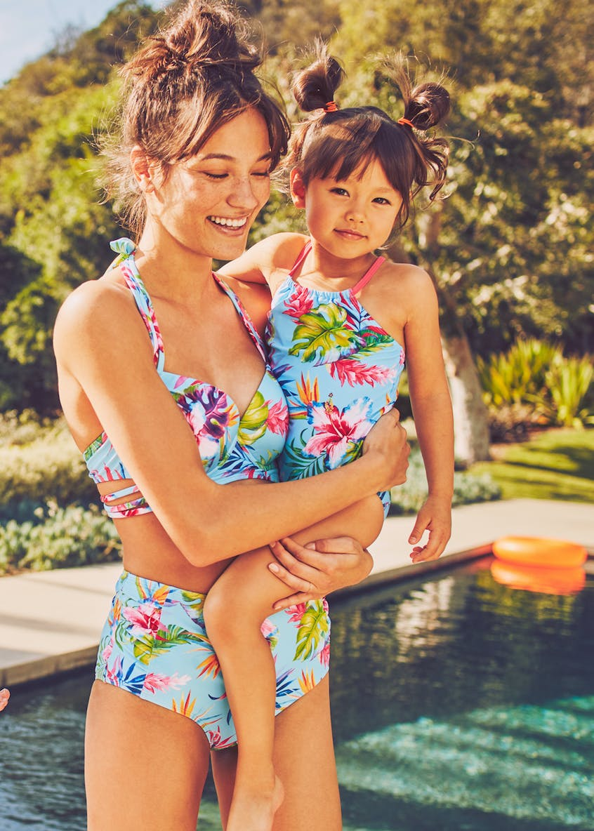 Girls Tropical Floral Swimming Costume (3mths-6yrs)
