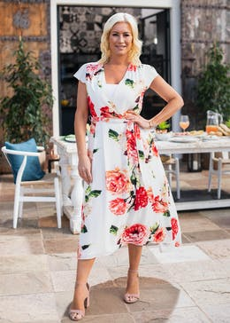 Floral Dipped Hem Midi Wrap Dress
