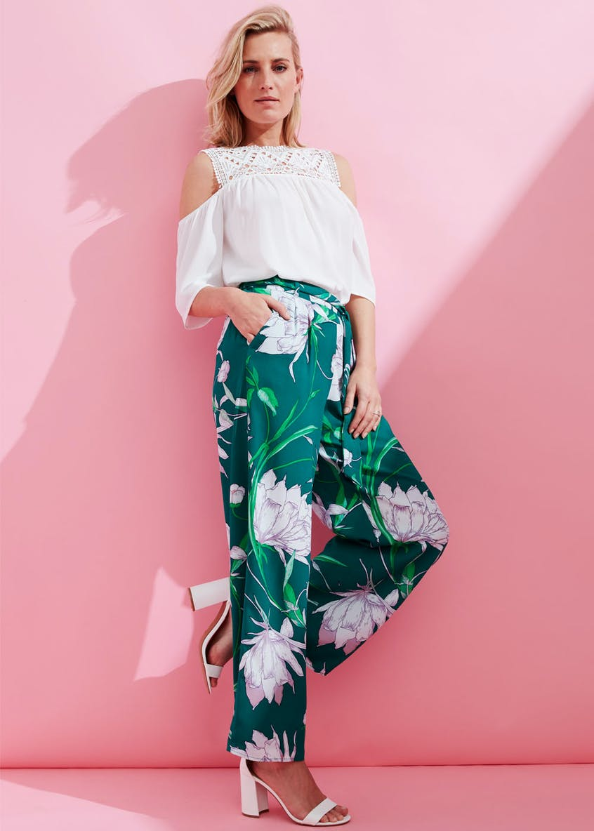 Soon Peony Floral Wide Leg Trousers