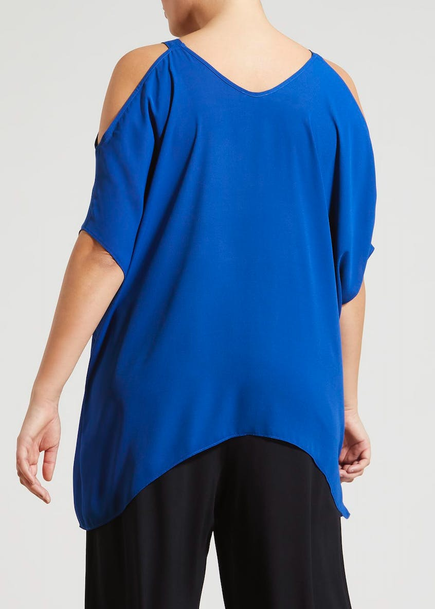 Papaya Curve Cold Shoulder Kimono Blouse