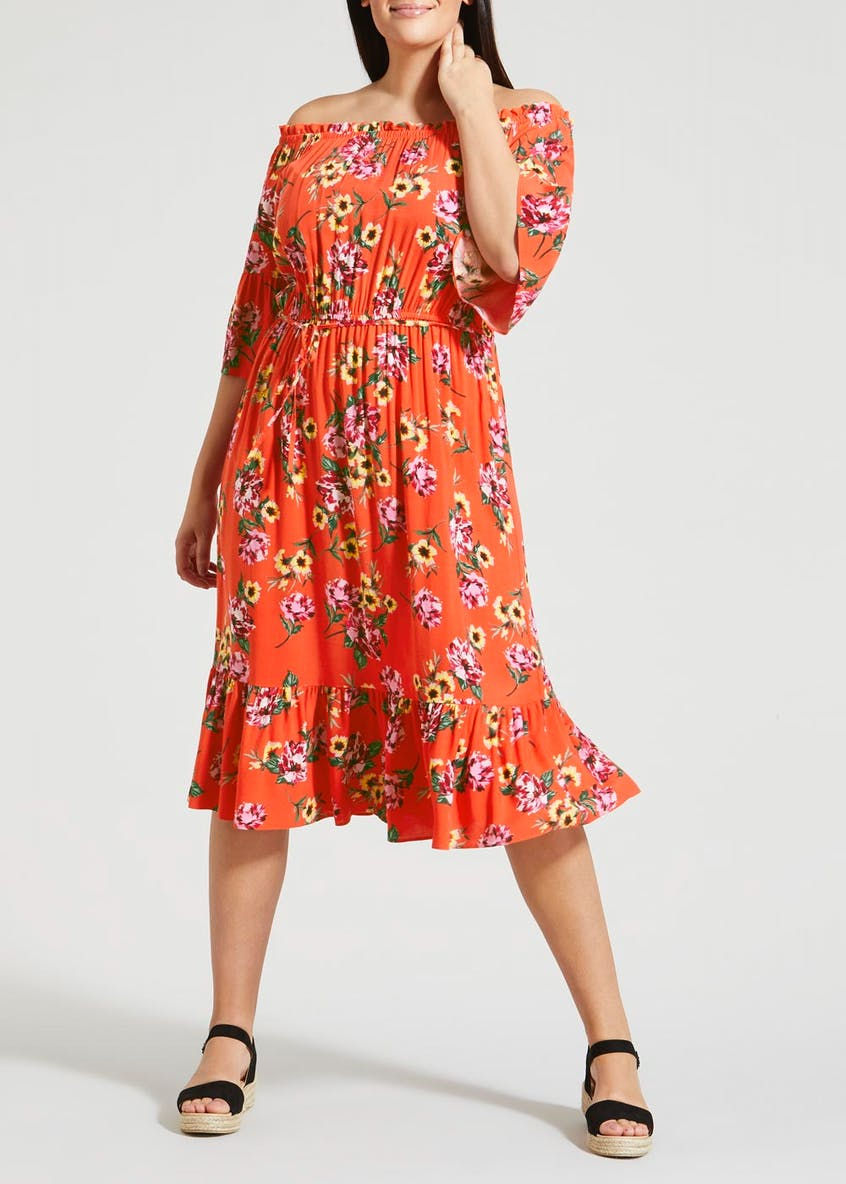 Papaya Curve Floral Frill Bardot Midi Dress
