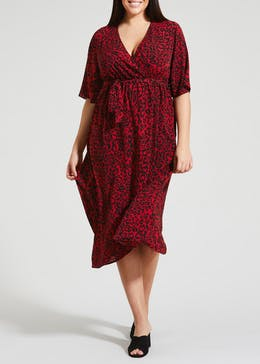 Papaya Curve Animal Print Wrap Dress