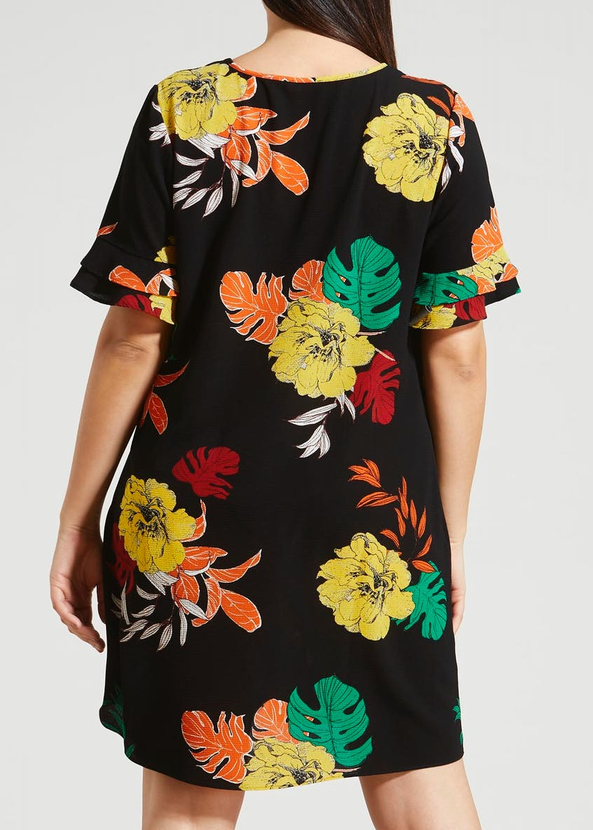 Papaya Curve Floral Frill Sleeve Dress