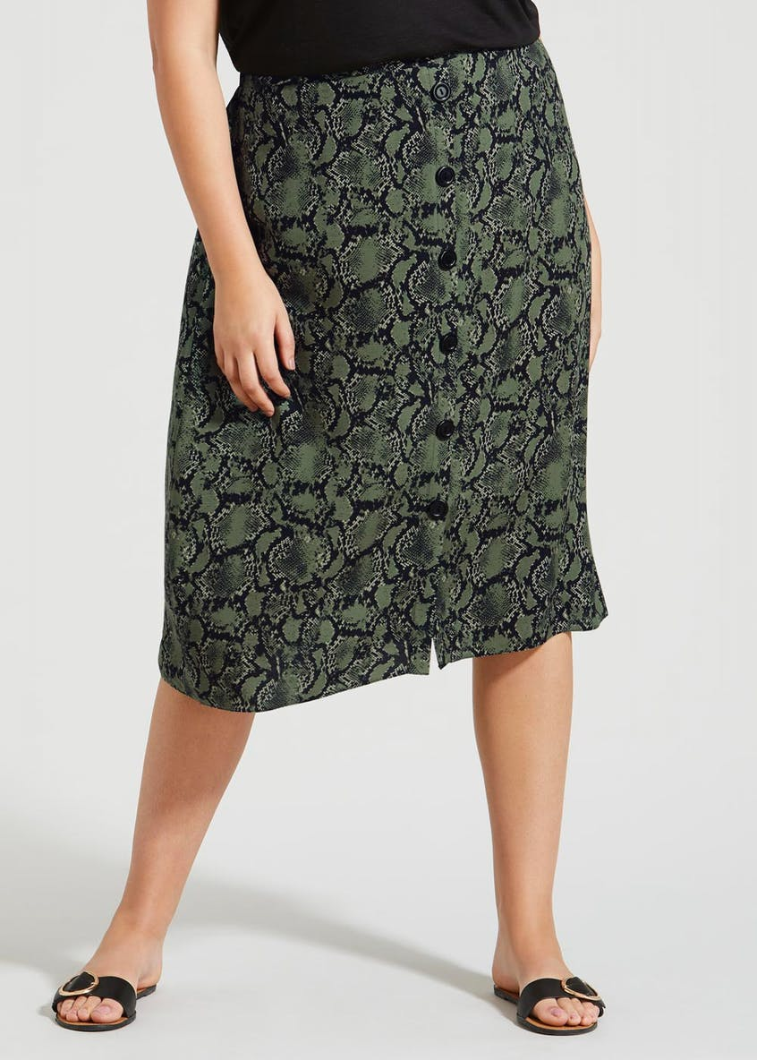Papaya Curve Button Front Midi Skirt