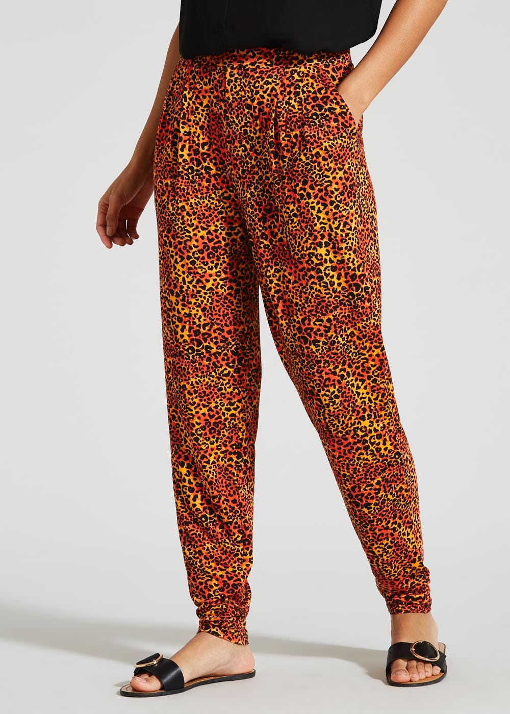 bc93dfd21276 Leopard Harem Trousers – Red – Matalan