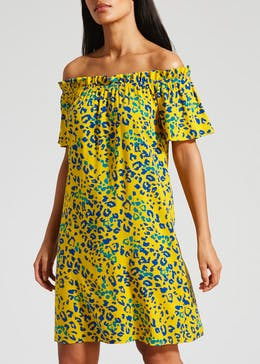 Animal Print Viscose Bardot Dress