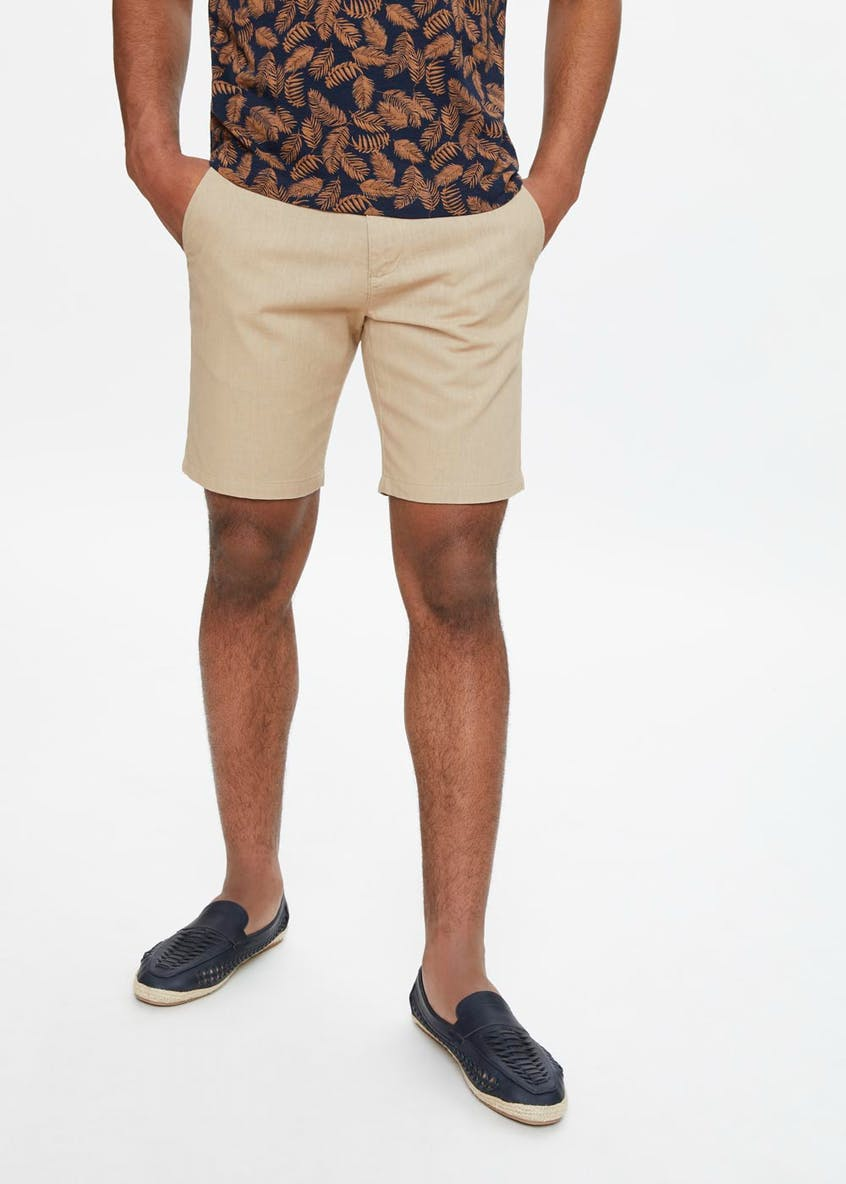 Linen Blend Slim Fit Shorts