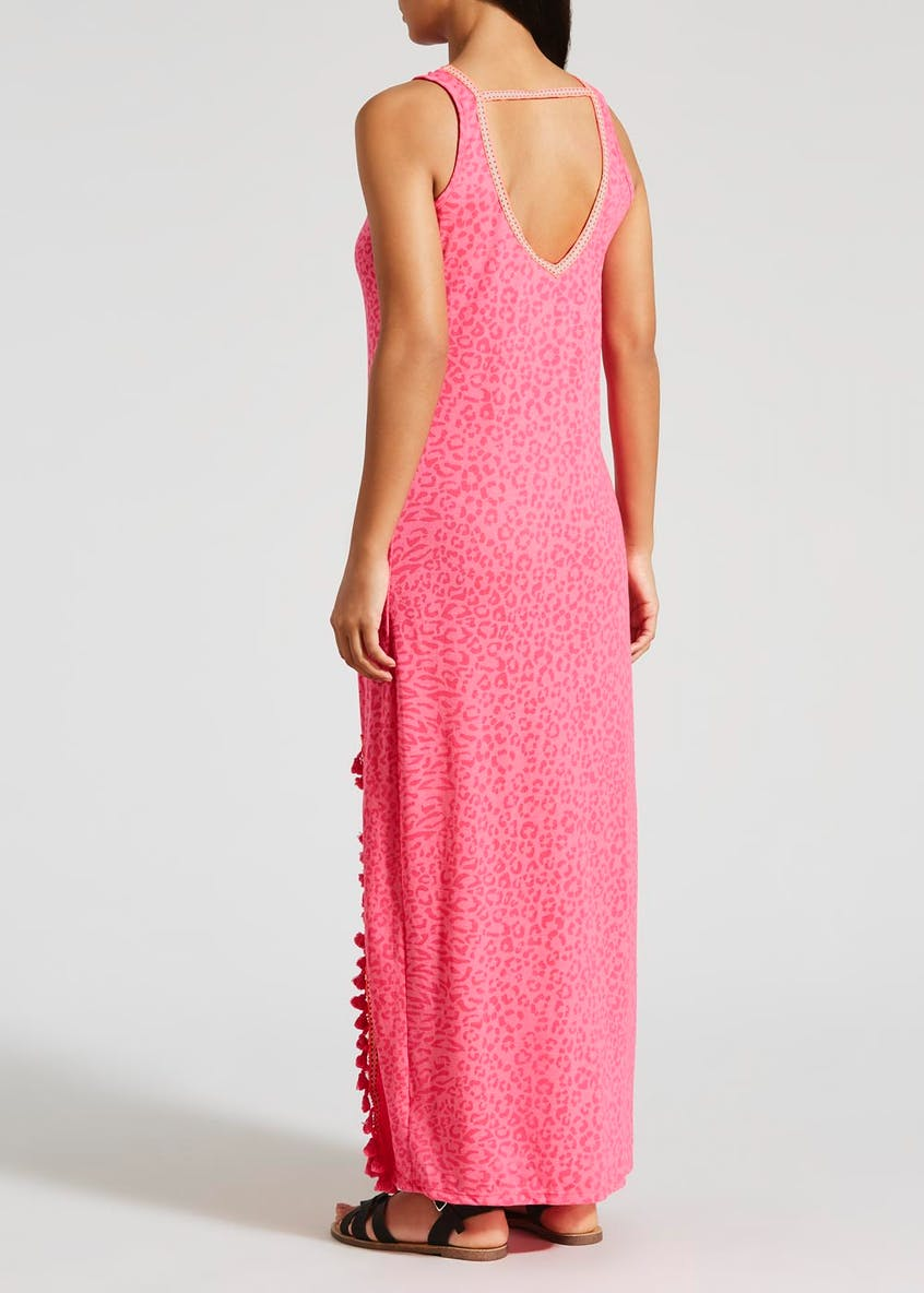 Burnout Animal Print High Neck Maxi Dress