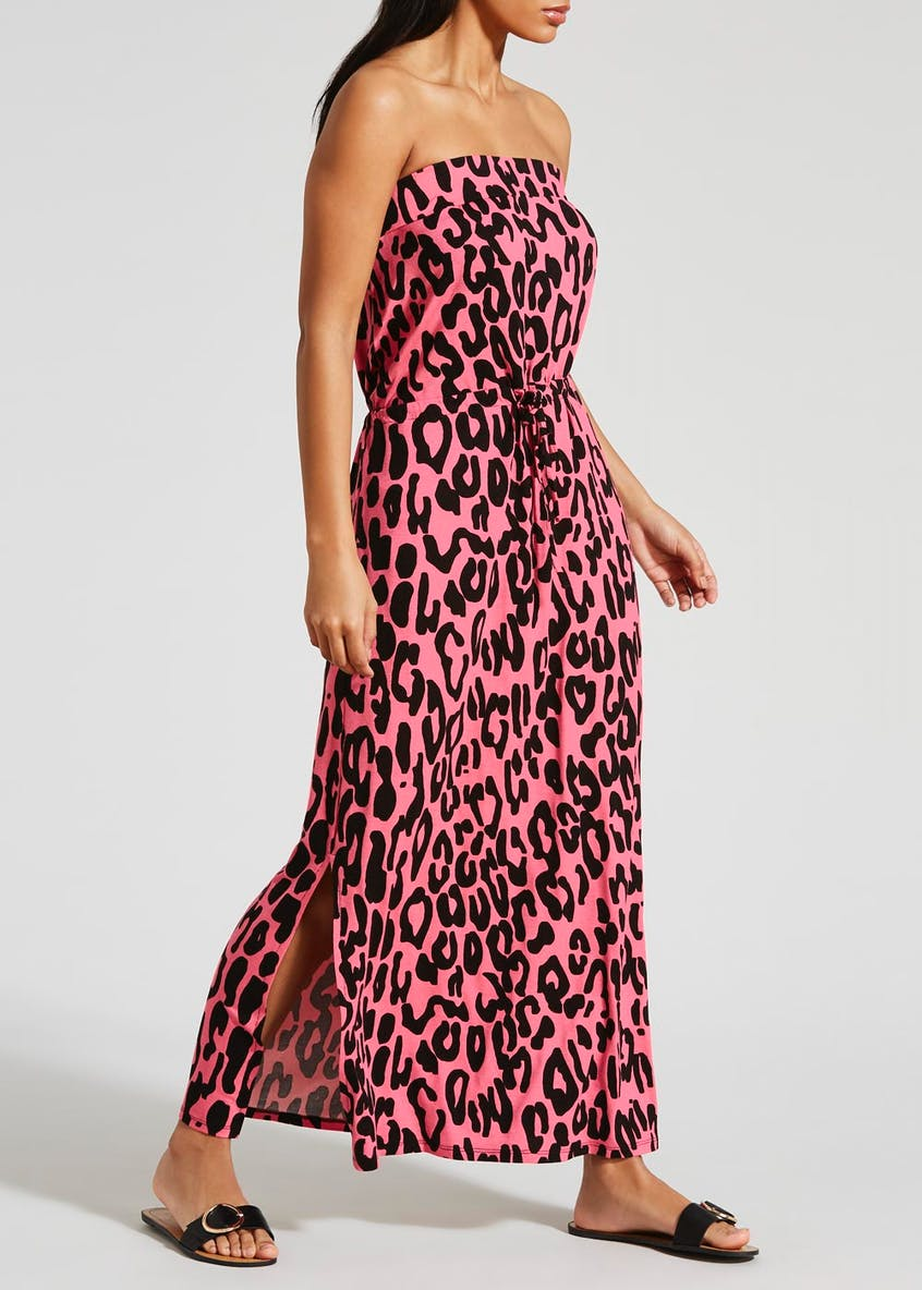 Leopard Print Bandeau Maxi Dress