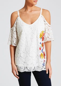 0cad687aa0156 Soon Embroidered Lace Cold Shoulder Top