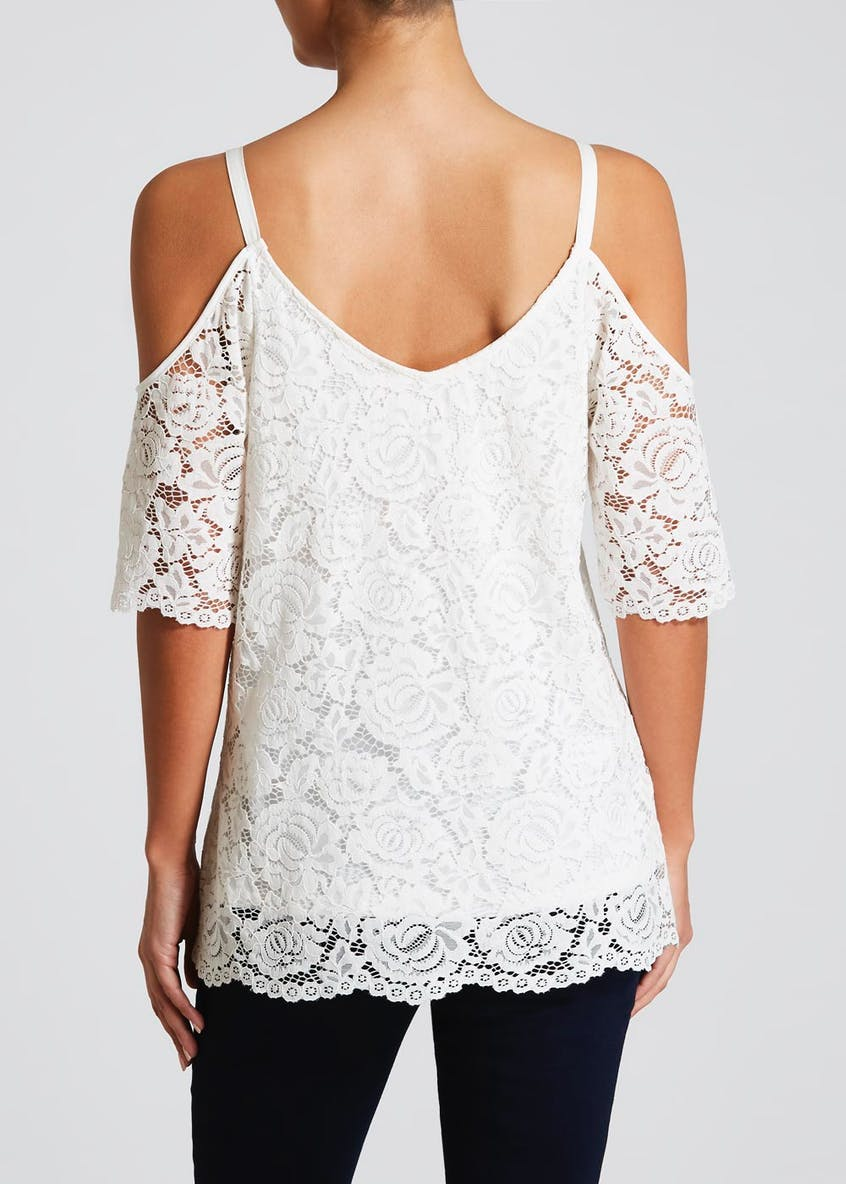 Soon Embroidered Lace Cold Shoulder Top