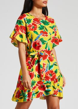 Floral Ruffle Wrap Mini Dress
