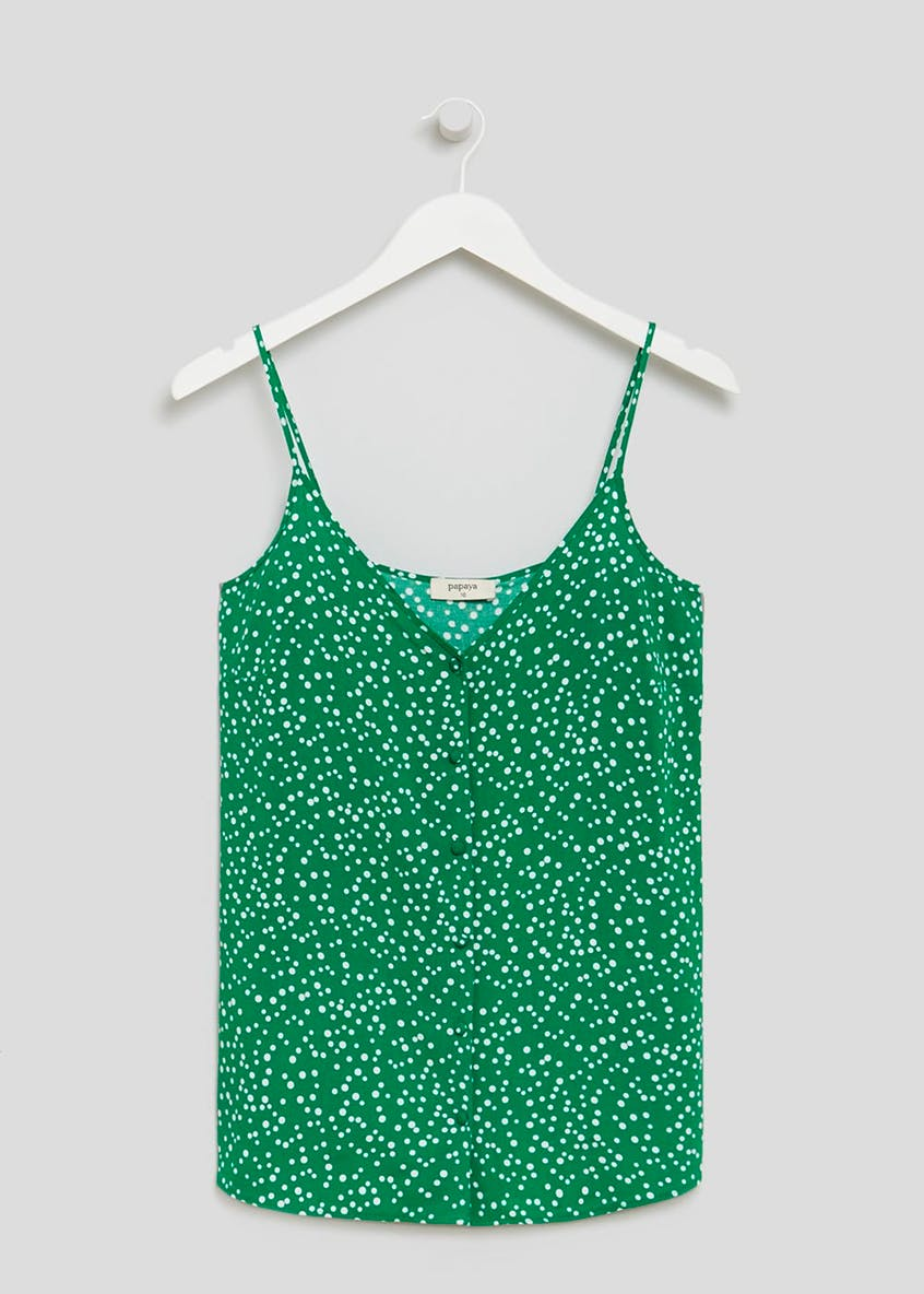 Spot Print Button Front Cami