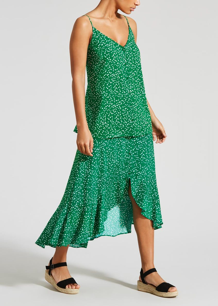 Spot Button High Low Midi Skirt