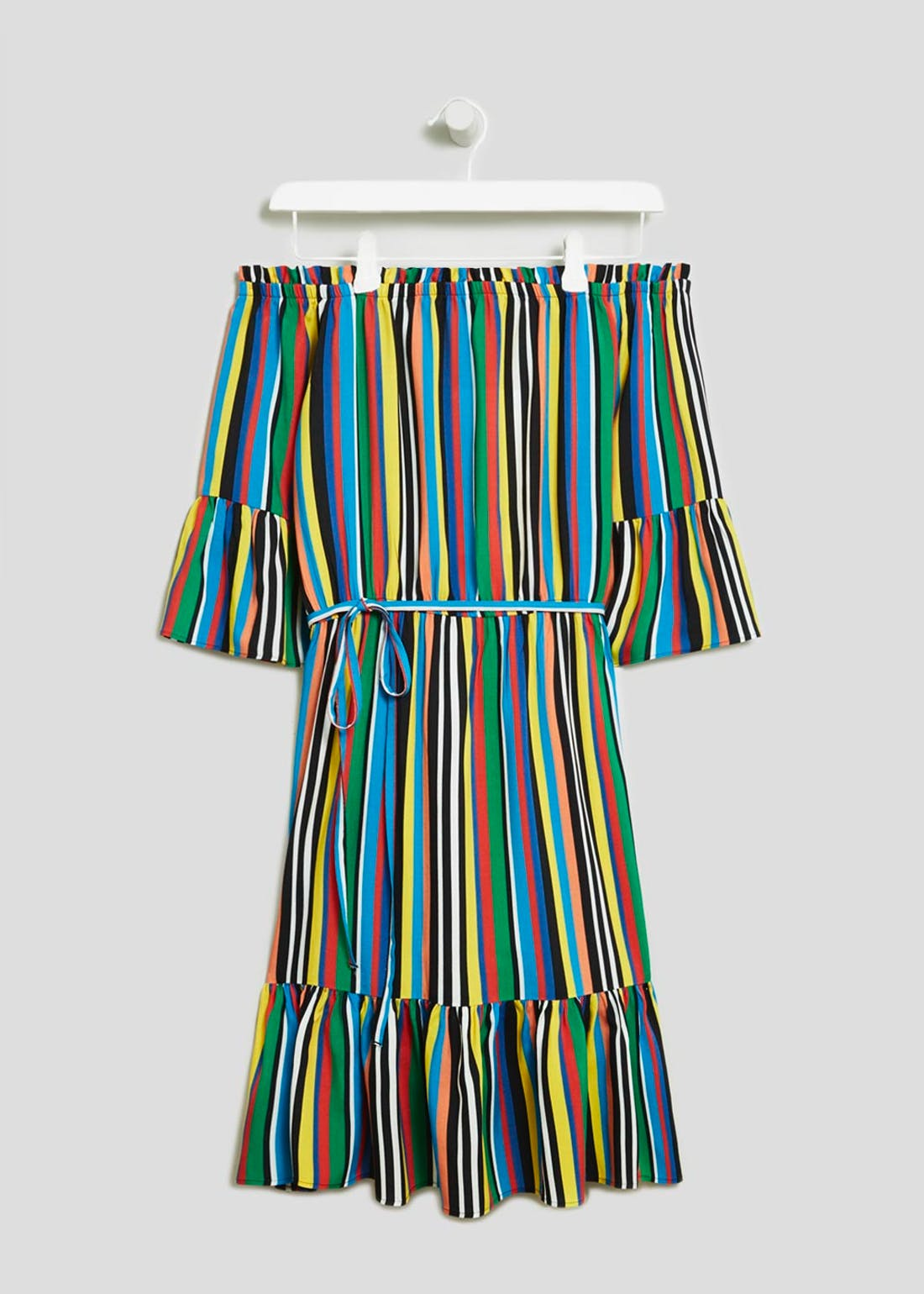 Stripe Bardot Dress
