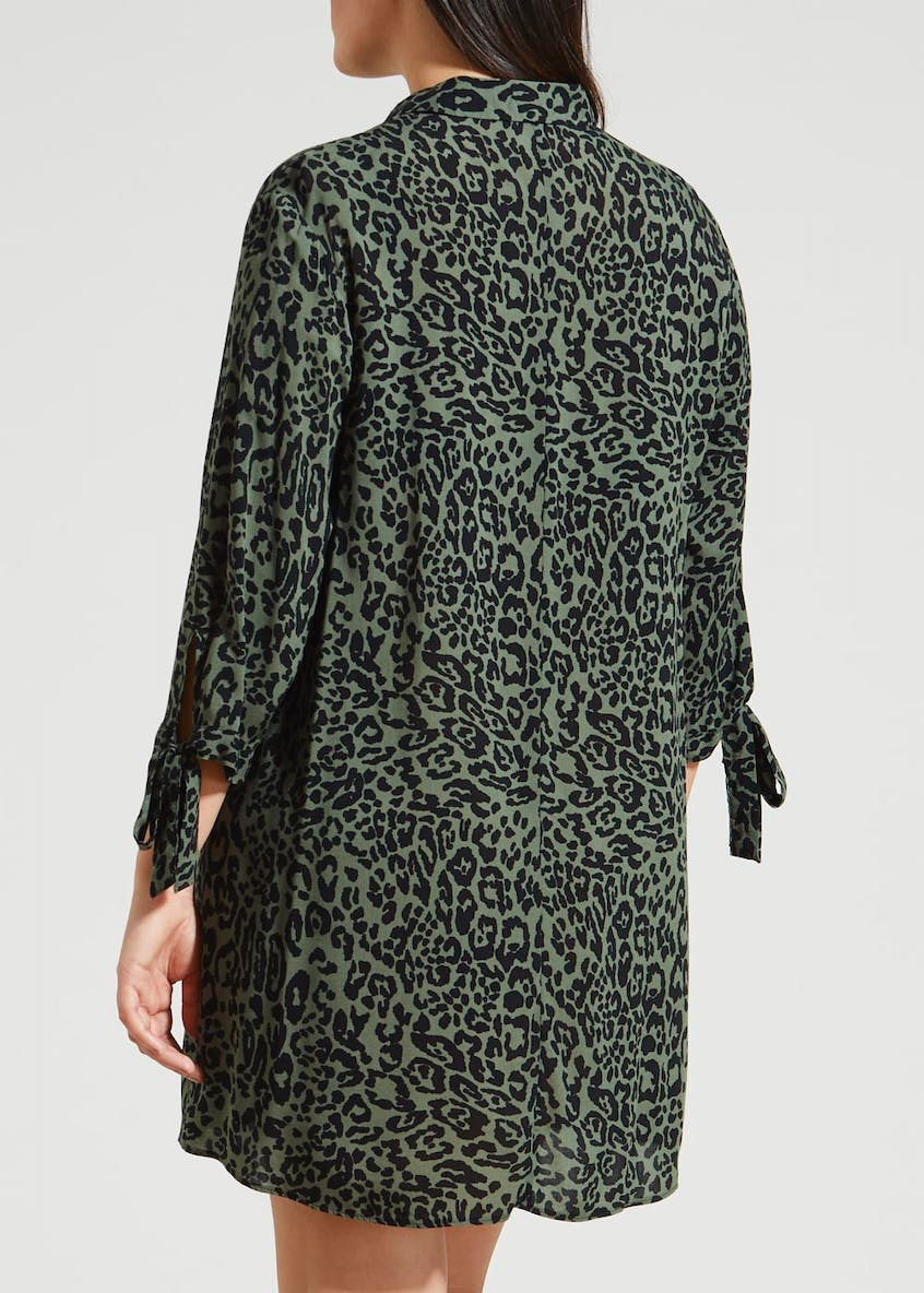 Papaya Curve Animal Print Shirt Dress