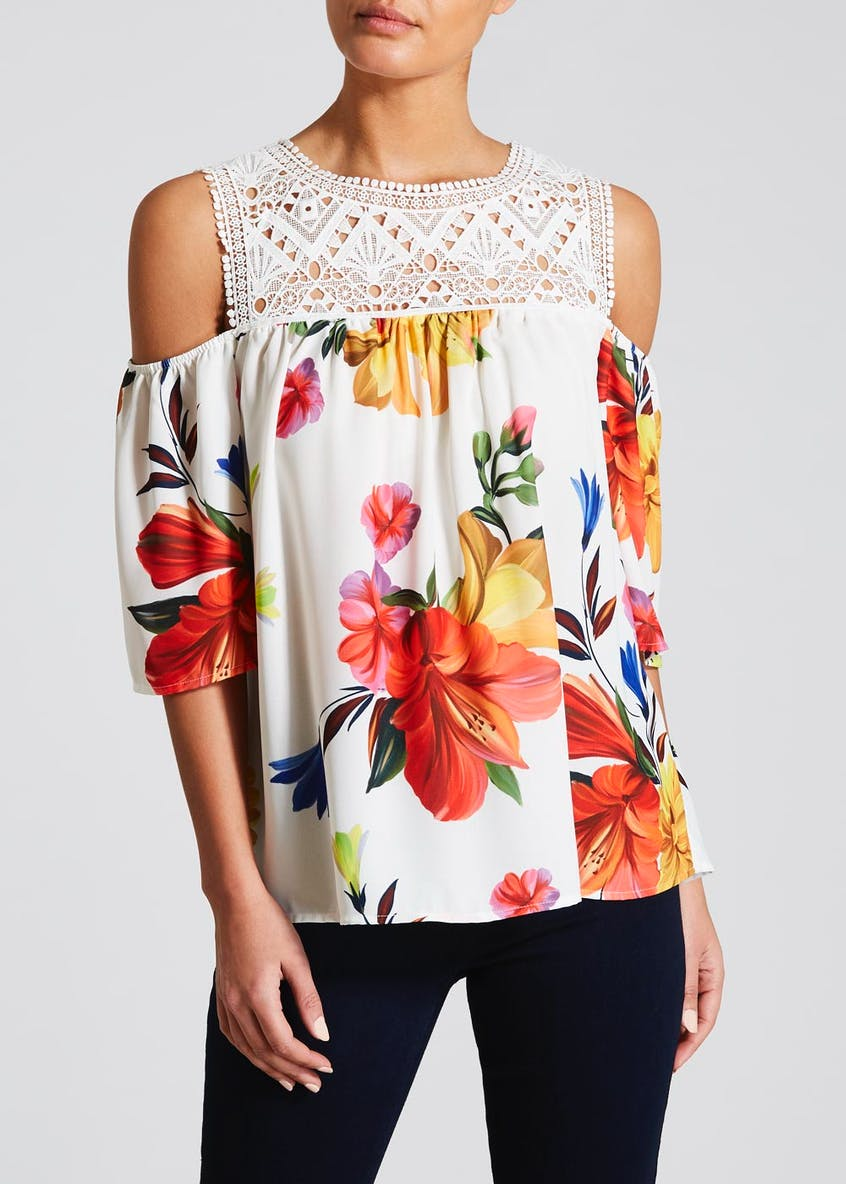 Soon Floral Lace Cold Shoulder Top