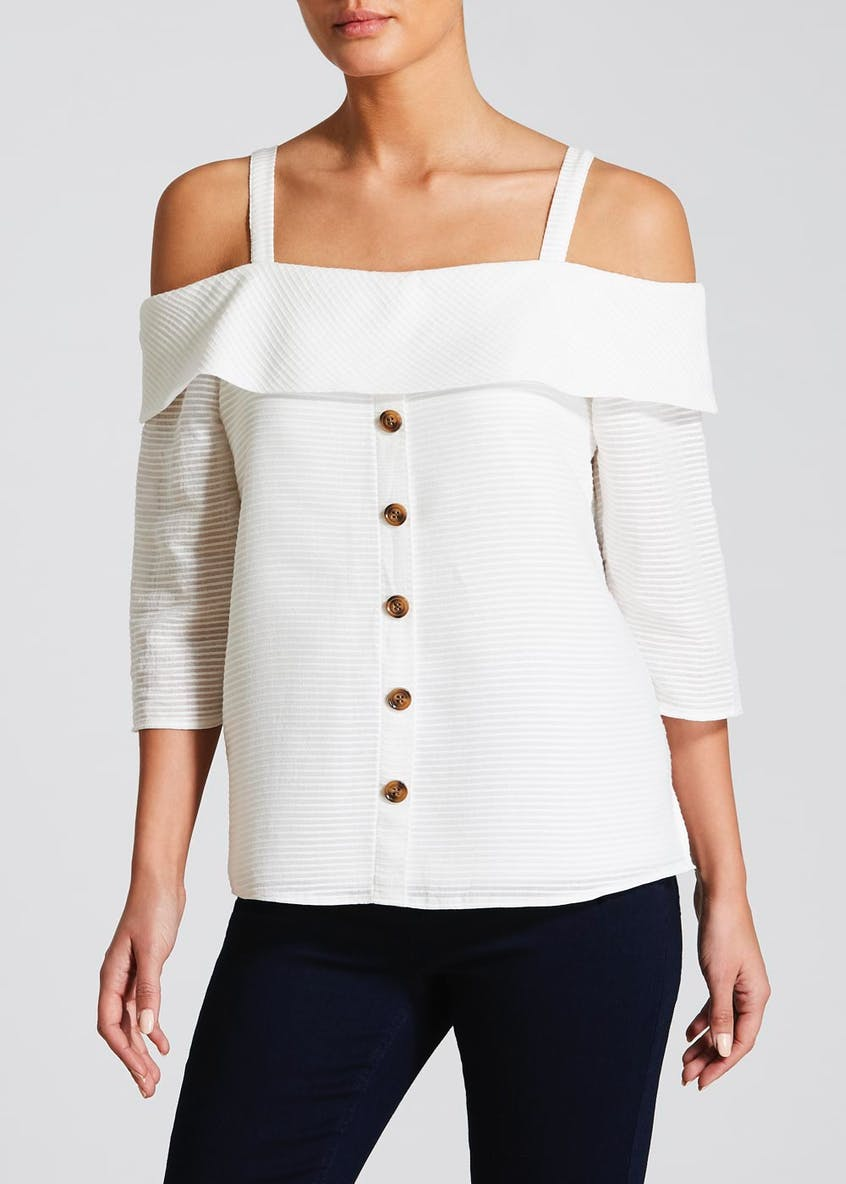 Soon Button Front Cold Shoulder Top