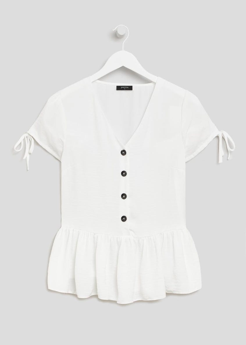 Button Front Peplum Blouse