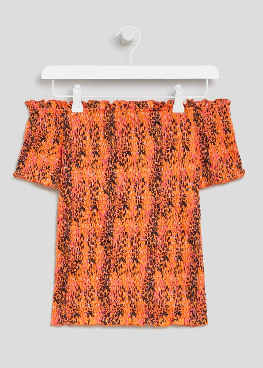 Tiger Print Shirred Bardot Top