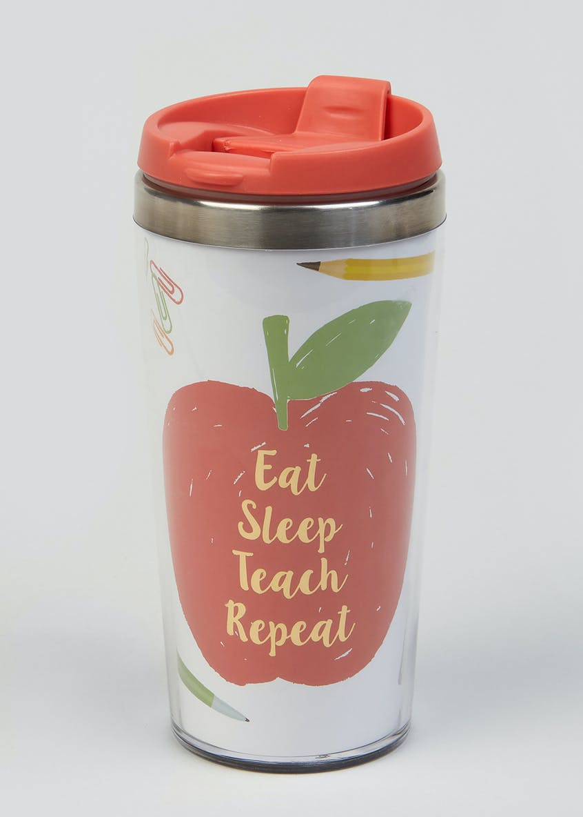 Eat Sleep Teach Repeat Slogan Flask (18cm)