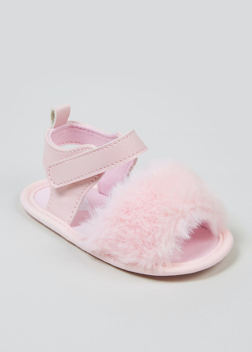 Unisex Soft Sole Faux Fur Sandals (Newborn-18mths)