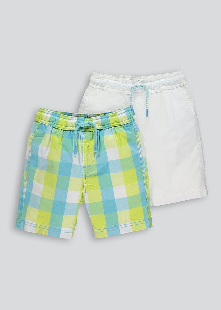 Boys 2 Pack Poplin Check Shorts (4-13yrs)