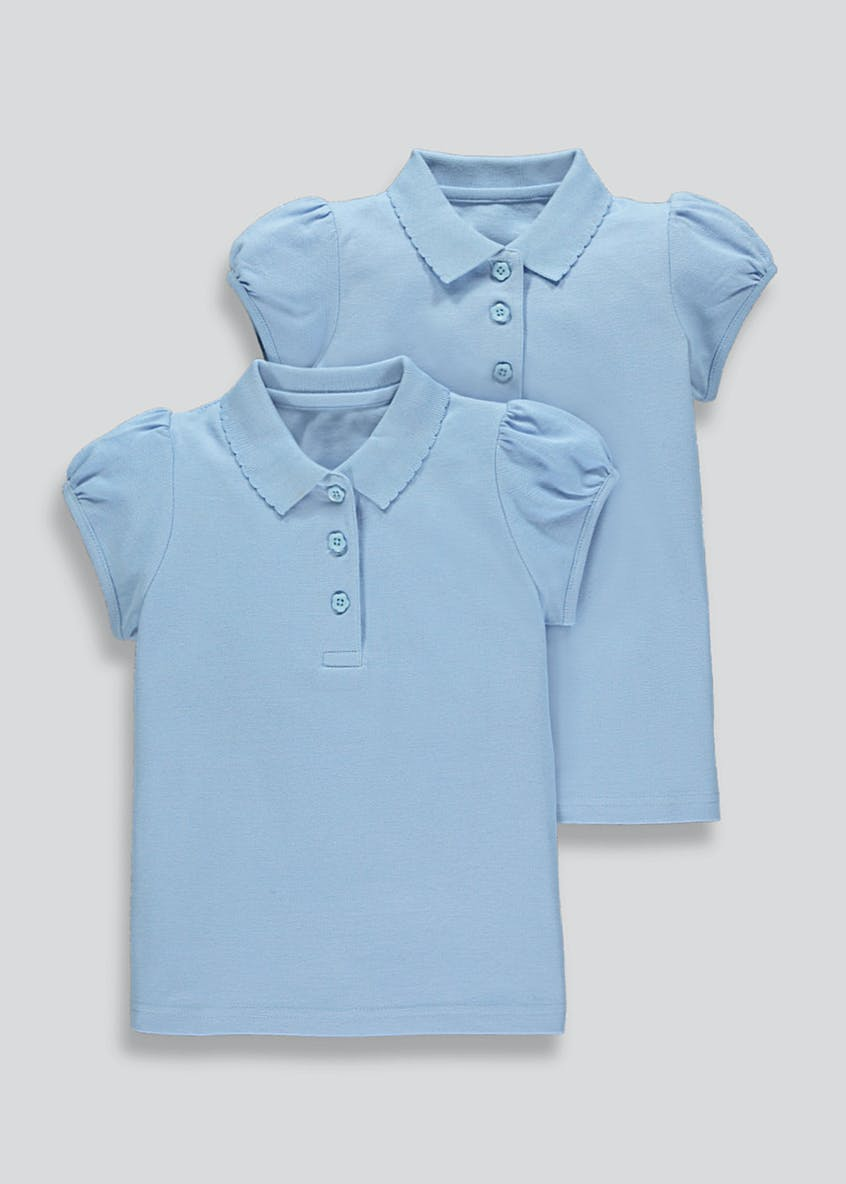 Girls 2 Pack Scallop Collar Polo Shirts (3-13yrs)