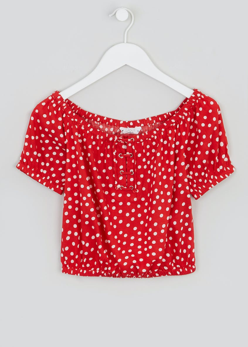 Girls Candy Couture Polka Dot Bardot Top (9-16yrs)