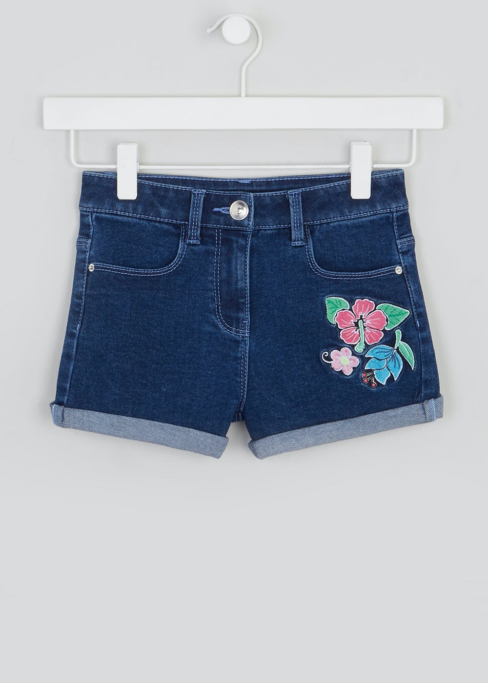 Girls Floral Embroidered Denim Shorts (4-13yrs) – Blue