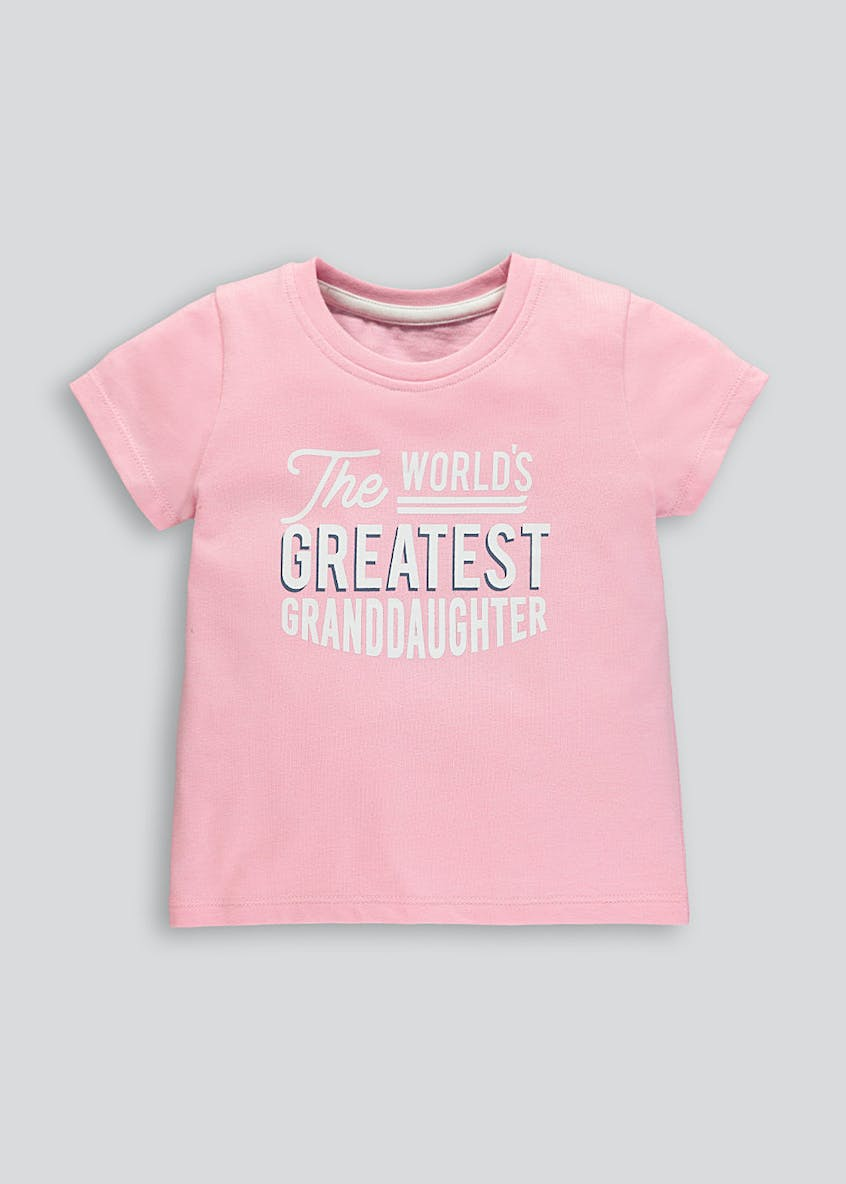 Girls World's Greatest Granddaughter Slogan T-Shirt (9mths-10yrs)