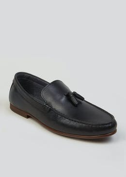 Real Leather Tassel Loafers