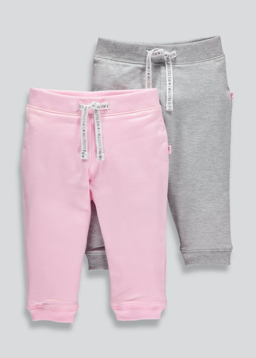 Girls 2 Pack Jogging Bottoms (Tiny Baby-18mths)