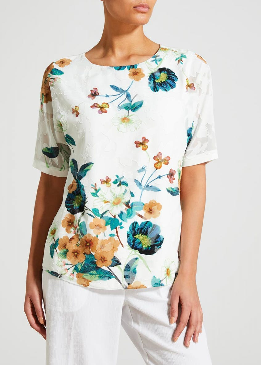 Floral Textured Front Top