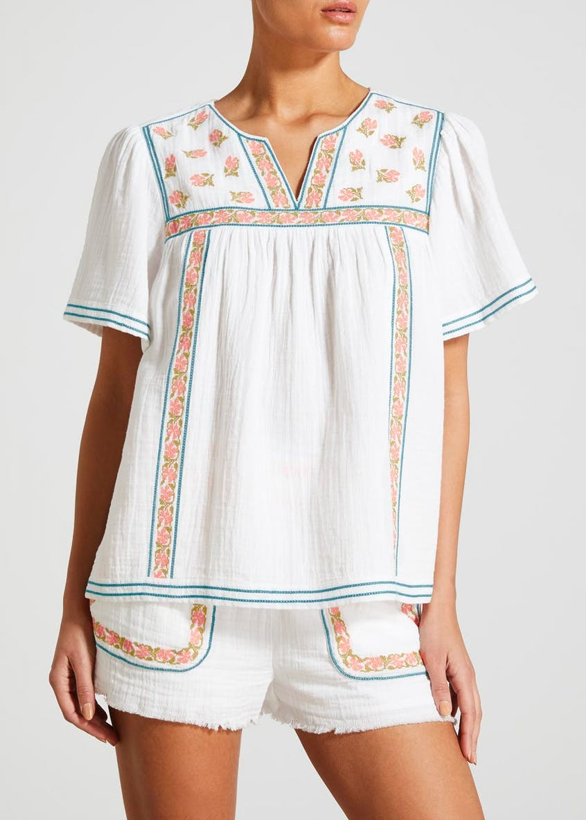 Falmer Cross Stitch Embroidered Co-Ord Blouse