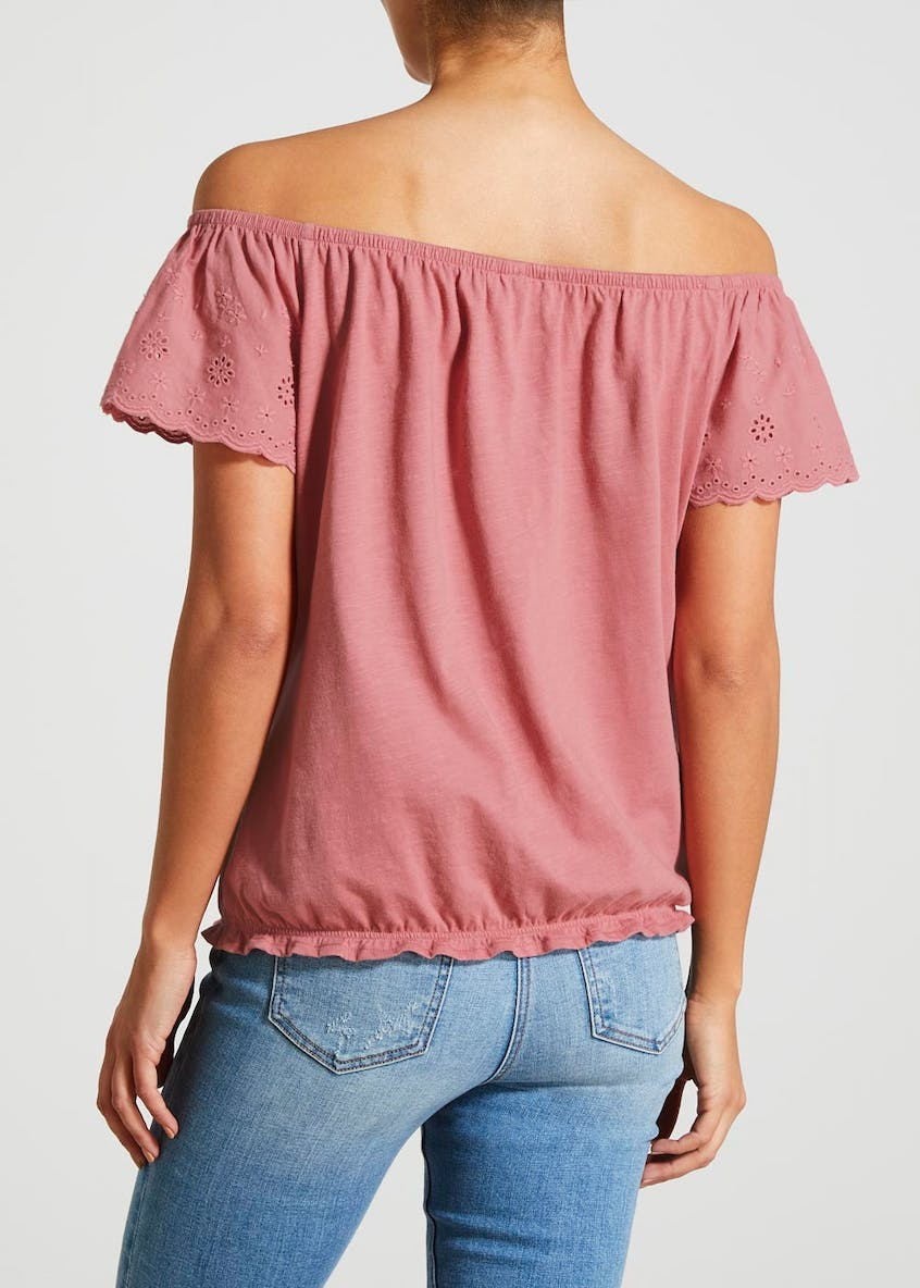 Schiffley Button Front Bardot Top
