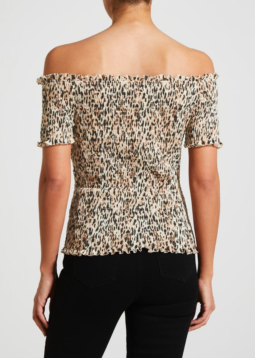 Animal Print Shirred Bardot Top
