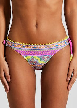 Printed Pom Pom Triangle Bikini Bottoms